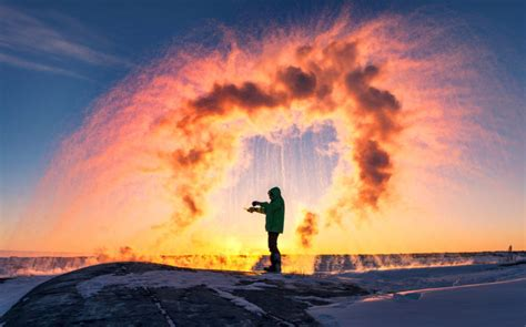 Stunning Ice Rainbow From Throwing Boiling Water In