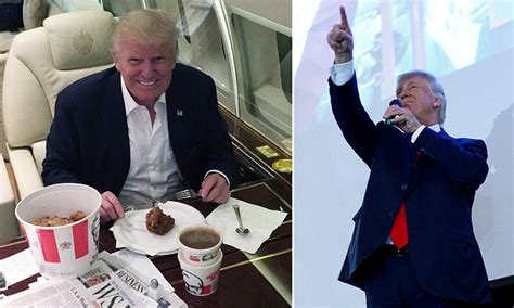 Donald Trump sits down to a KFC family bucket meal on