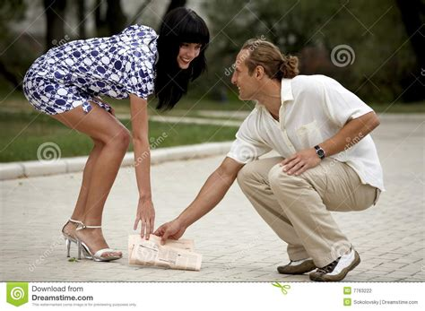 Smiling Attractive Couple Meeting In Summer Park Stock