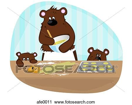 Clipart of A mother bear baking cookies with her cubs
