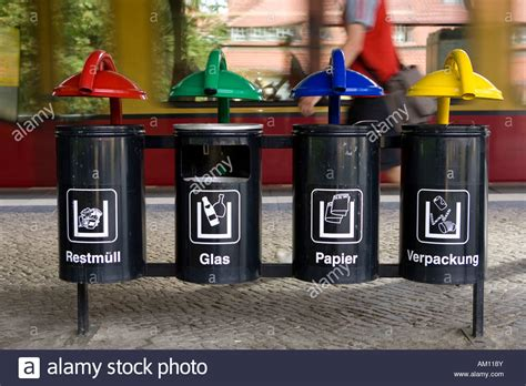 Garbage cans, waste separation, Berlin, Germany Stock